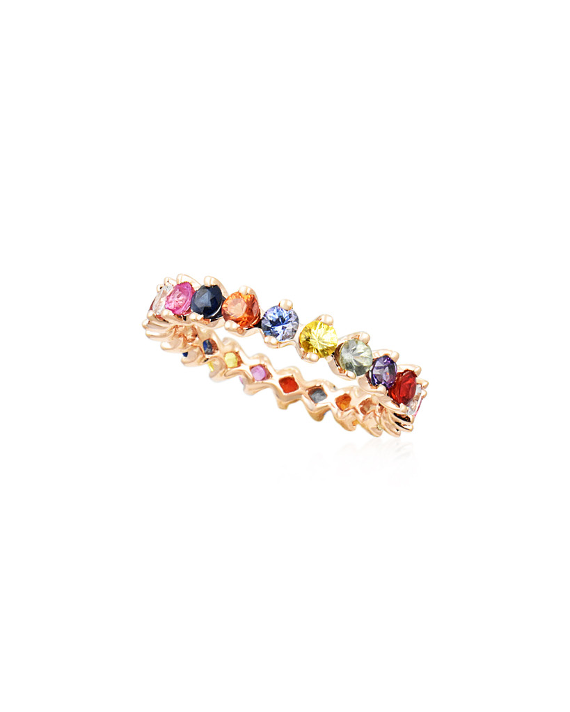 Multi-Colored Fancy Sapphire & Diamond 14K Rose Gold Eternity Band