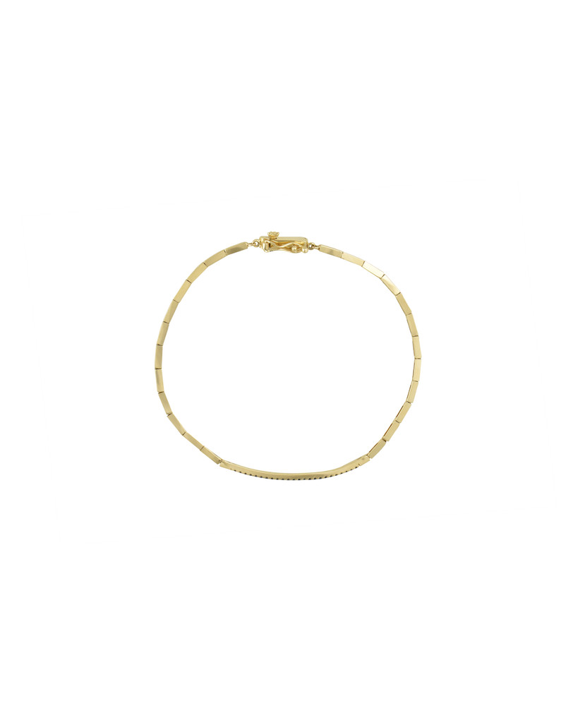 Geometric Link 14K Yellow Gold Bracelet with Pave Set Blue Diamond Bar