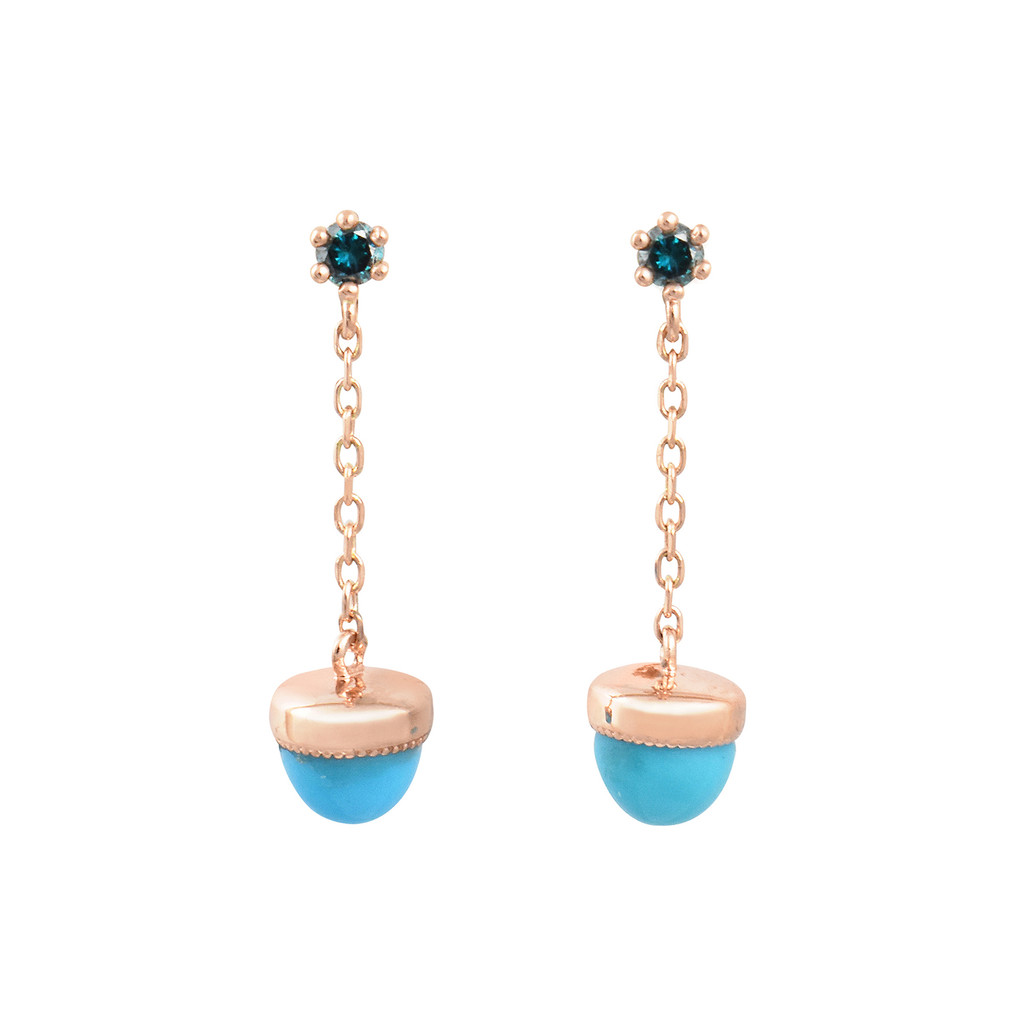 Turquoise & Blue Diamond 14K Rose Gold Tiny Dangle Earrings