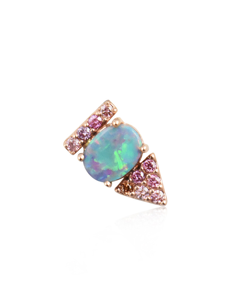 Pink Diamonds With Doublet Opal 14K Rose Gold  Arrow Stud, Single