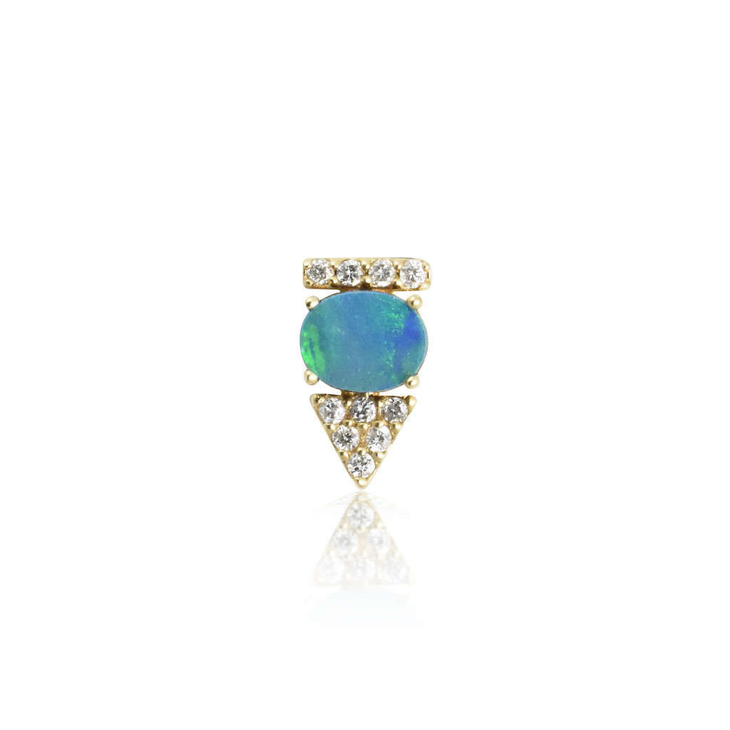 White Diamonds & Doublet Opal 14K Yellow Arrow Stud, Single