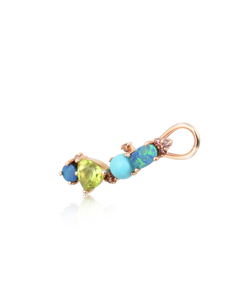 ONE OF A KIND - Multi-Pink Diamonds 14K Rose Gold Peridot, Doublet Opal & Turquoise Ear Climbers, Sold as Pair