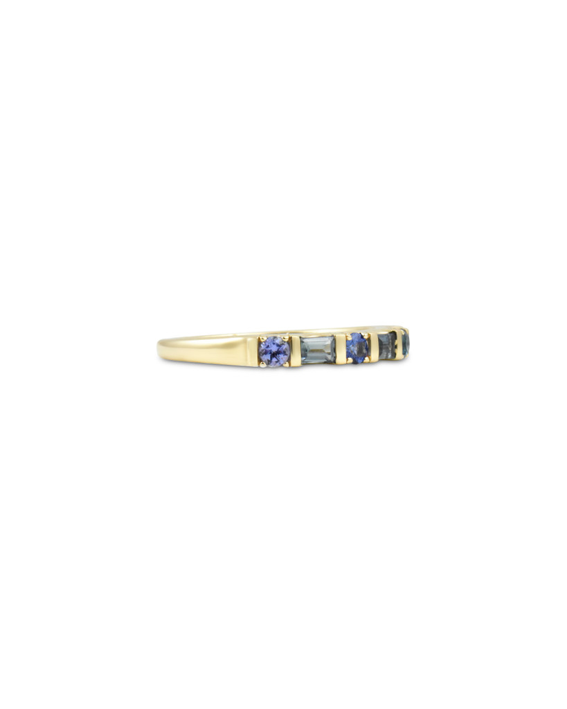 Blue Sapphire, London Blue Topaz, Tanzanite 14K Yellow Gold Multi-Shaped Semi-Precious Stone Ring