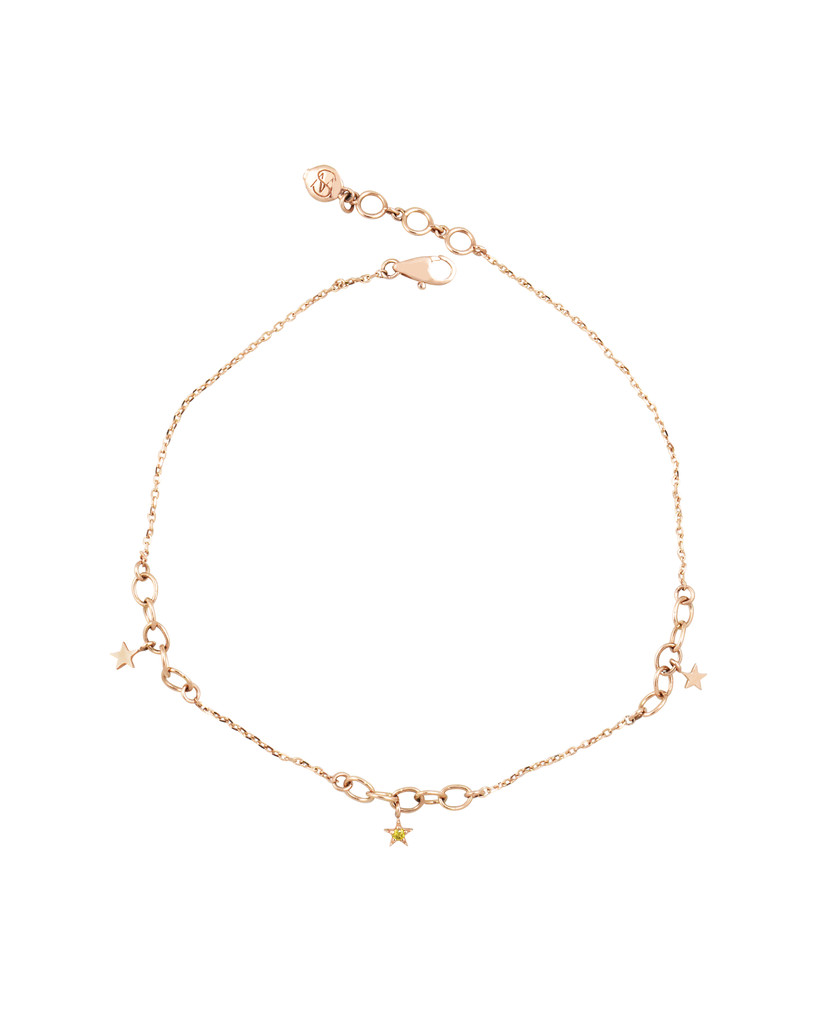 Yellow Diamonds 14K Rose Gold Multi-Chain Anklet with Tiny Star Charms