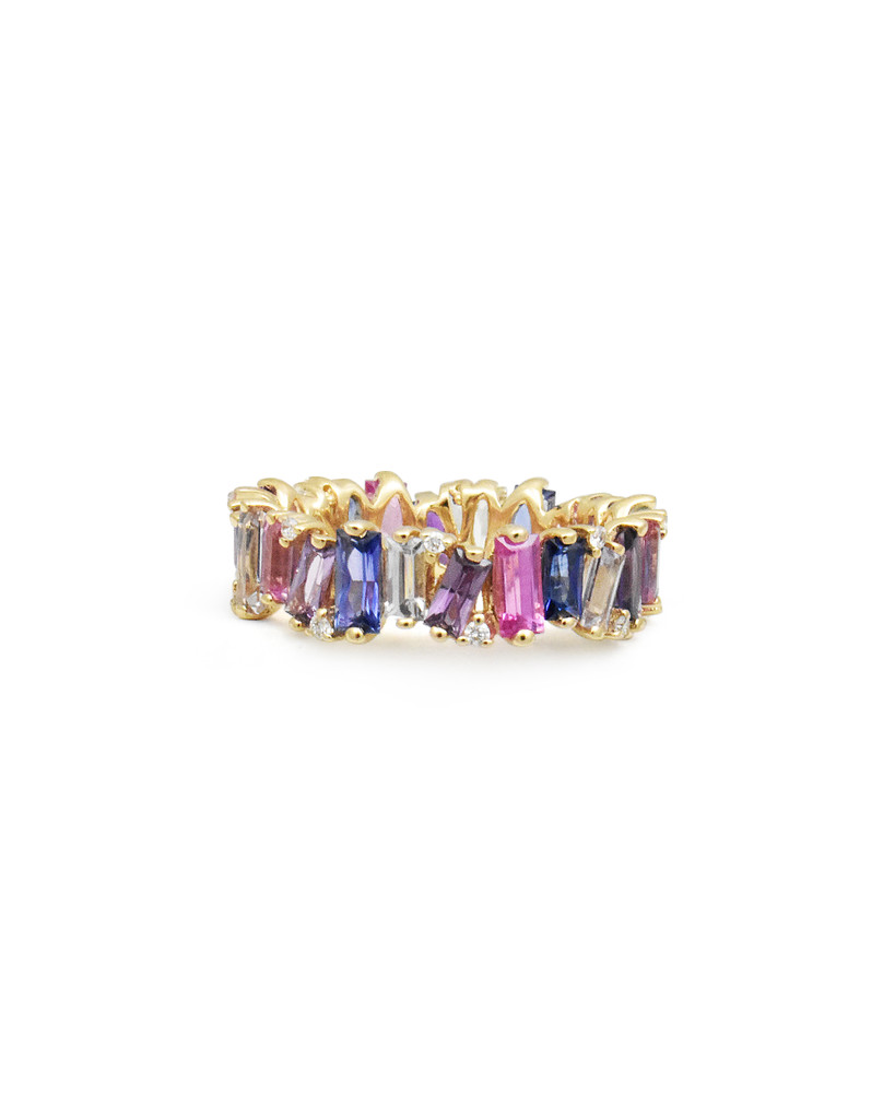 Fancy Color Baguette Sapphire & Diamond 14k Gold Ring - Available For Special Order