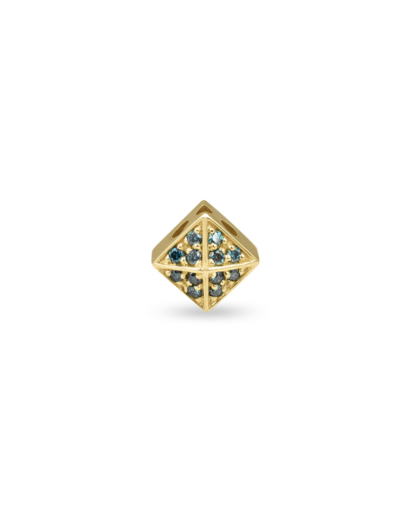 Blue Diamonds 14K Yellow Gold Pyramid Stud Charm