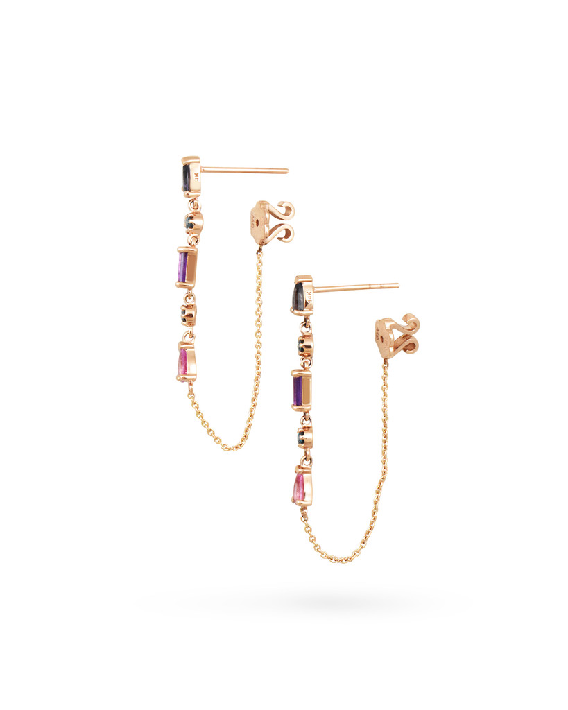 Blue Diamond, Pink Sapphire, Amethyst & Lolite 14K Rose Gold Dangle Earrings with Chain
