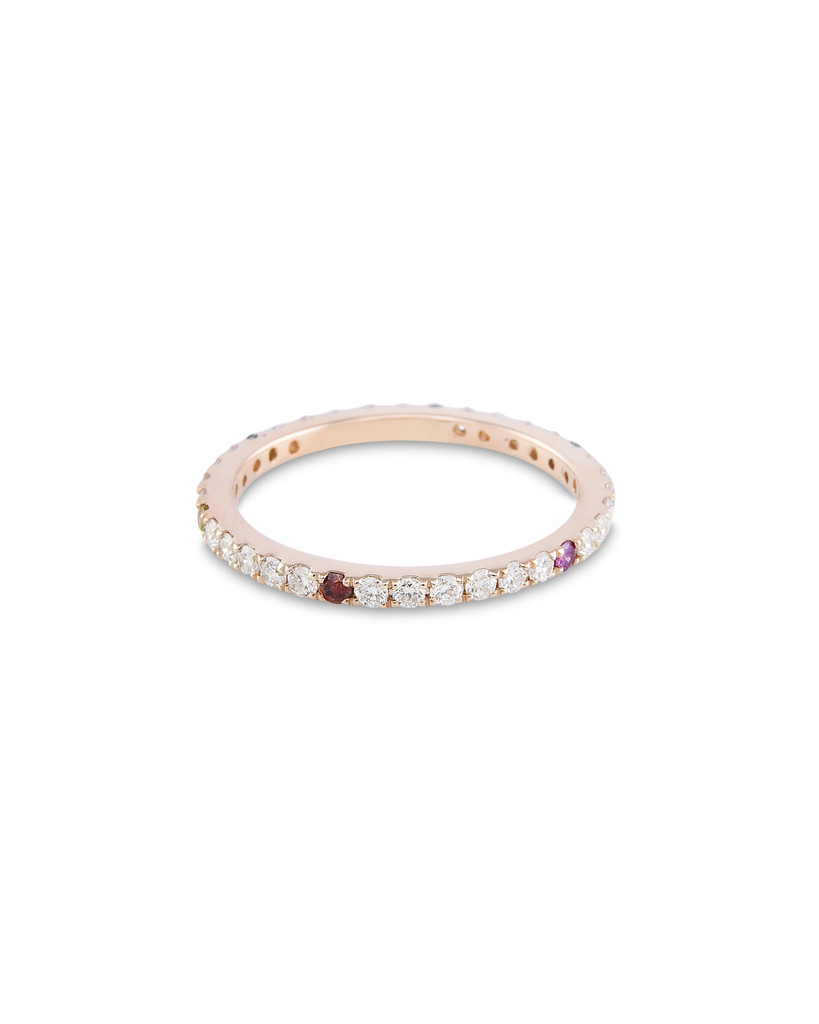 Rainbow Sprinkles 14K Yellow Gold  White Diamond Micro Pave Eternity Band