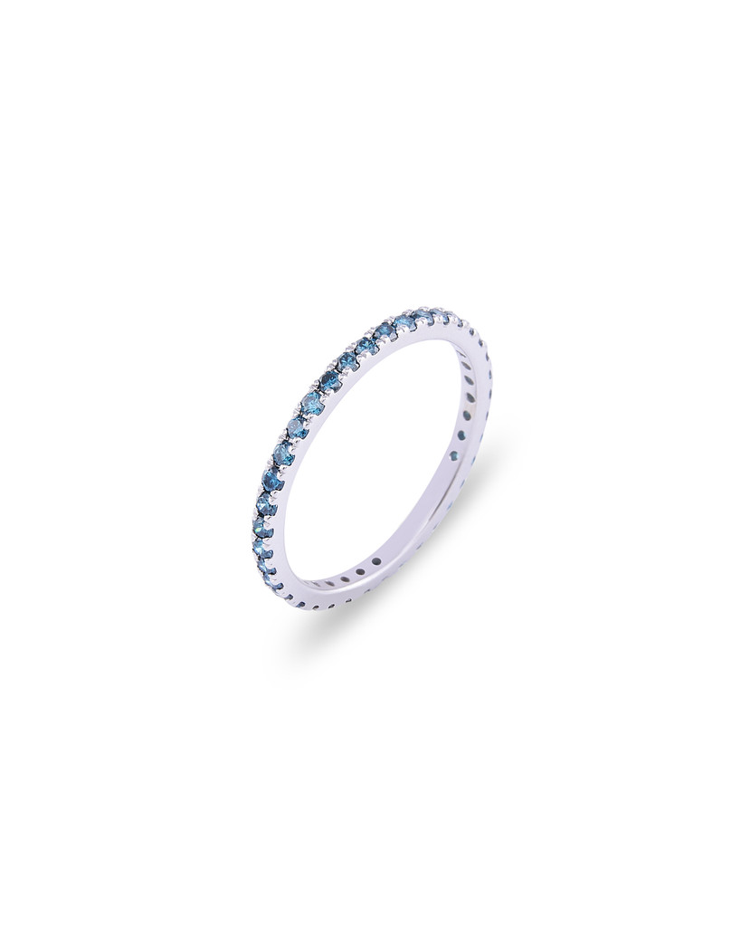 Blue Diamond 14K White Gold Micro Pave Eternity Band