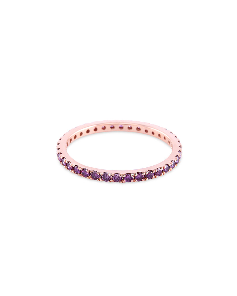 Pink Diamond 14K Rose Gold Micro Pave Eternity Band