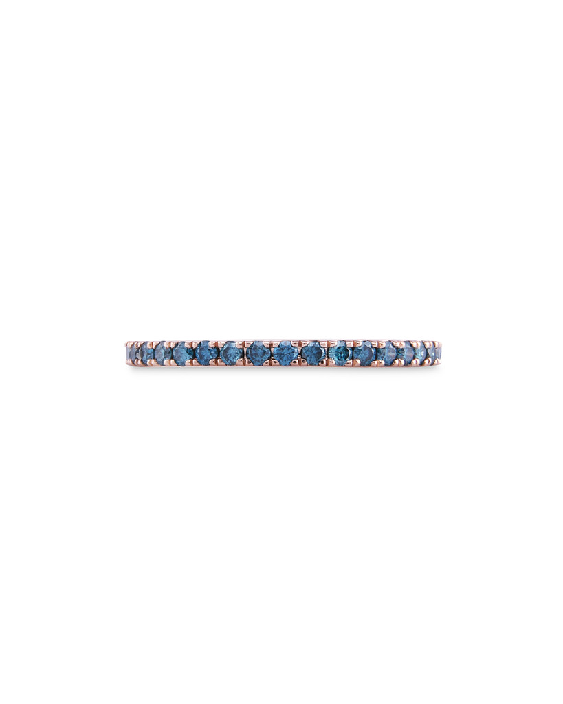 Blue Diamond 14K Rose Gold Micro Pave Eternity Band