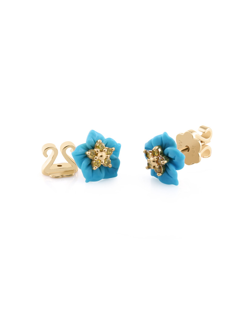 Yellow Diamond 14K Yellow Gold Carved Turquoise Flower Single Stud