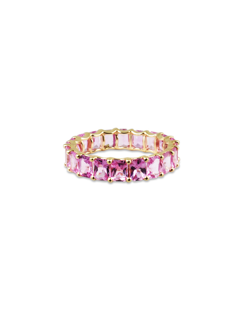 Fancy Emerald Cut Pink Sapphire 14K Yellow Gold Eternity Band