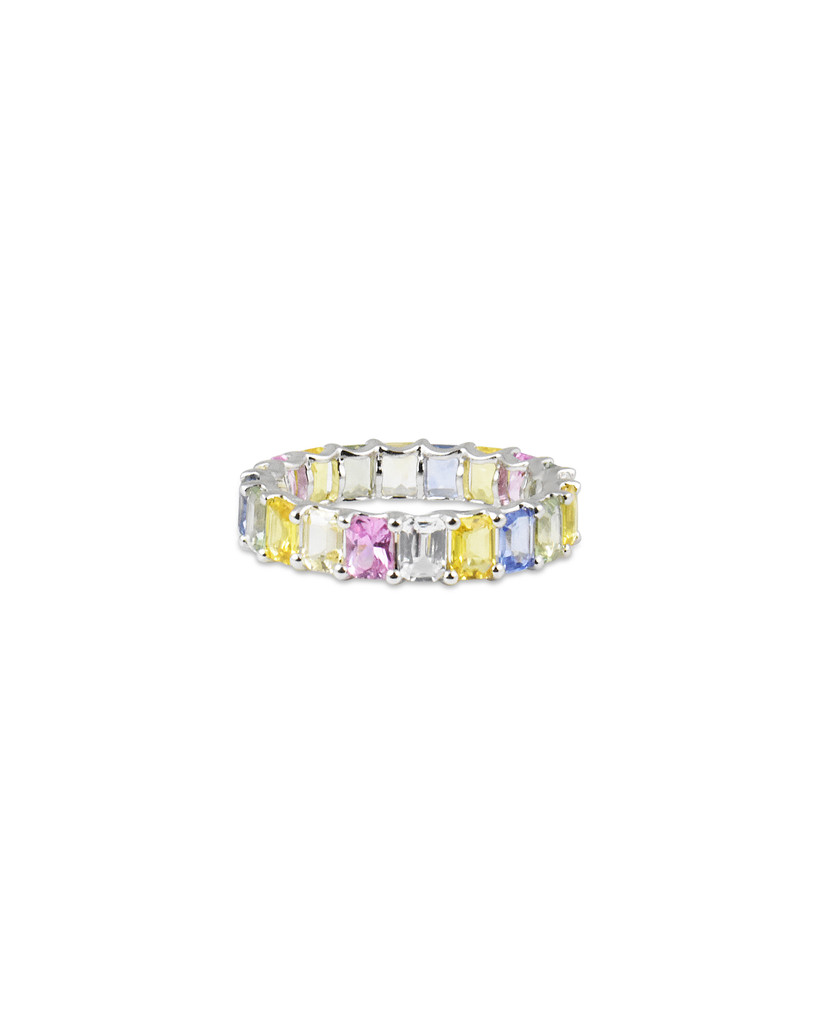 Fancy Emerald Cut Pastel Color Sapphire 14K White Gold Eternity Band