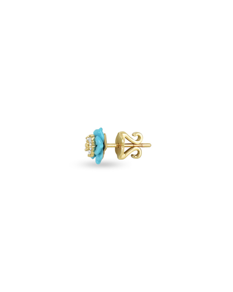 White Diamond 14K Yellow Gold Carved Turquoise Flower Single Stud