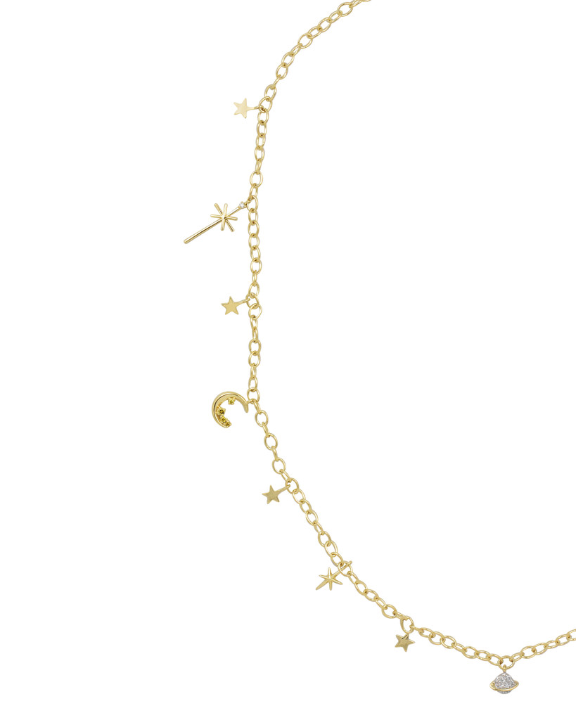"Multi Color Diamond 14K Yellow Gold ""Out of Orbit"" Charm Necklace"
