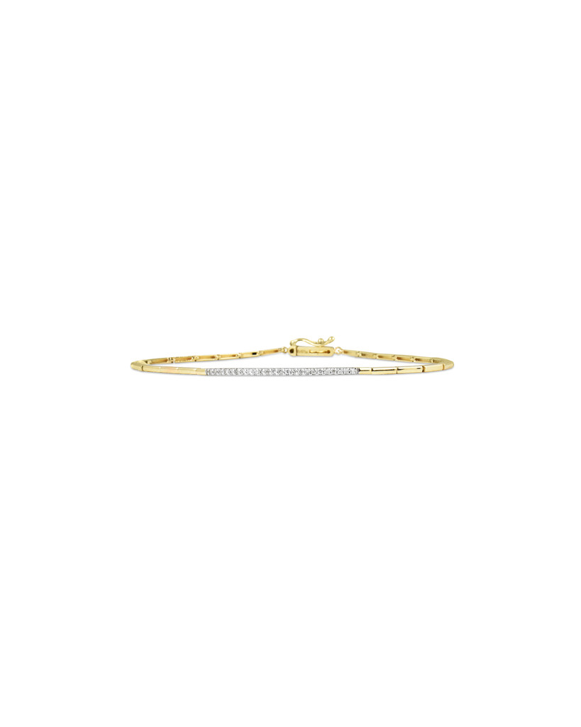 White Diamond 14K Yellow Gold Geometric Link Bar Bracelet