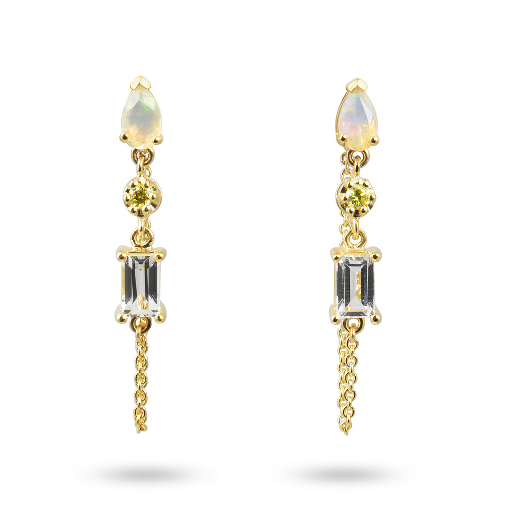 Yellow Diamond, Opal, & White Topaz 14K Yellow Gold Dangle Earrings with Chain