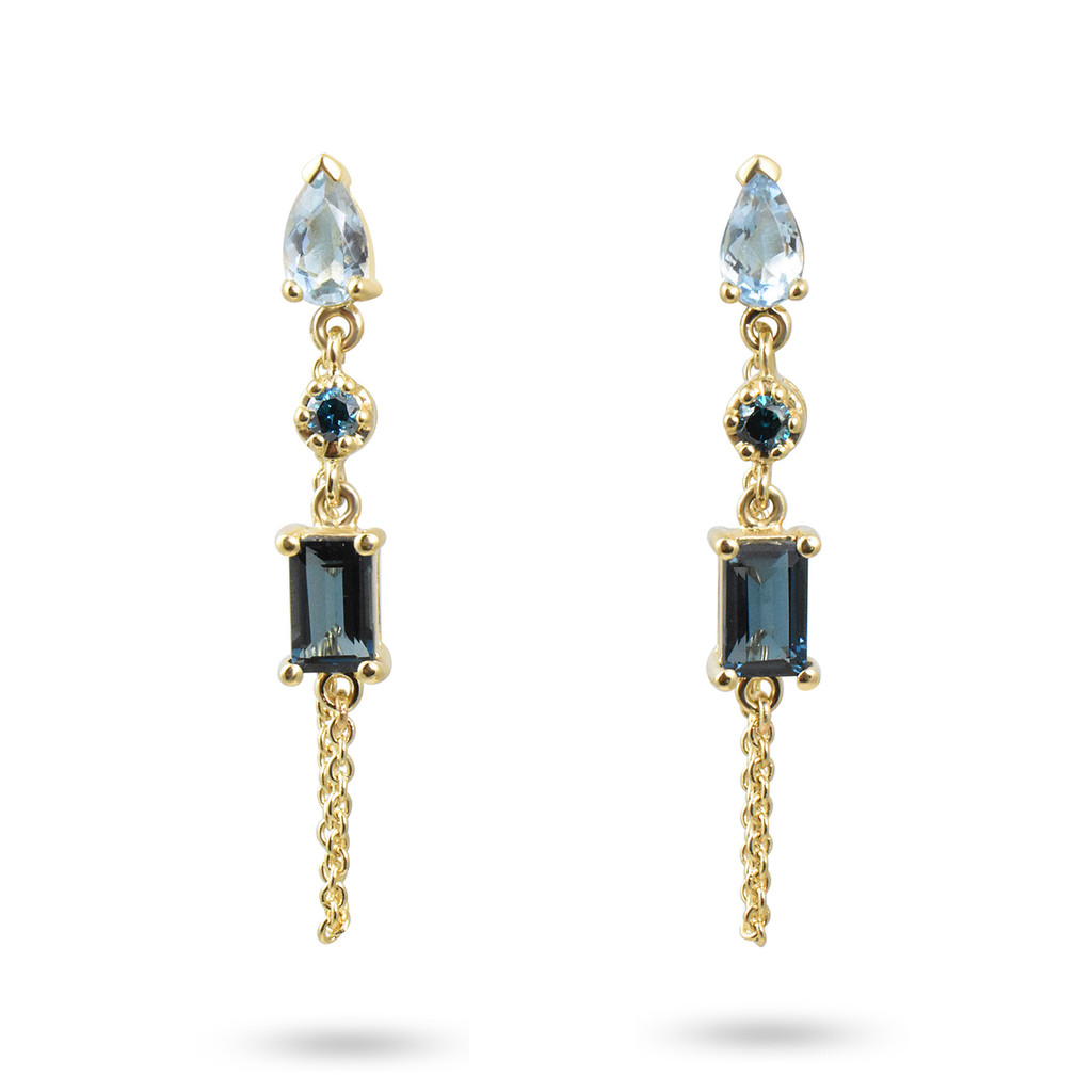 Blue Diamond, Aquamarine, & Blue Topaz 14K Yellow Gold Dangle Earrings with Chain
