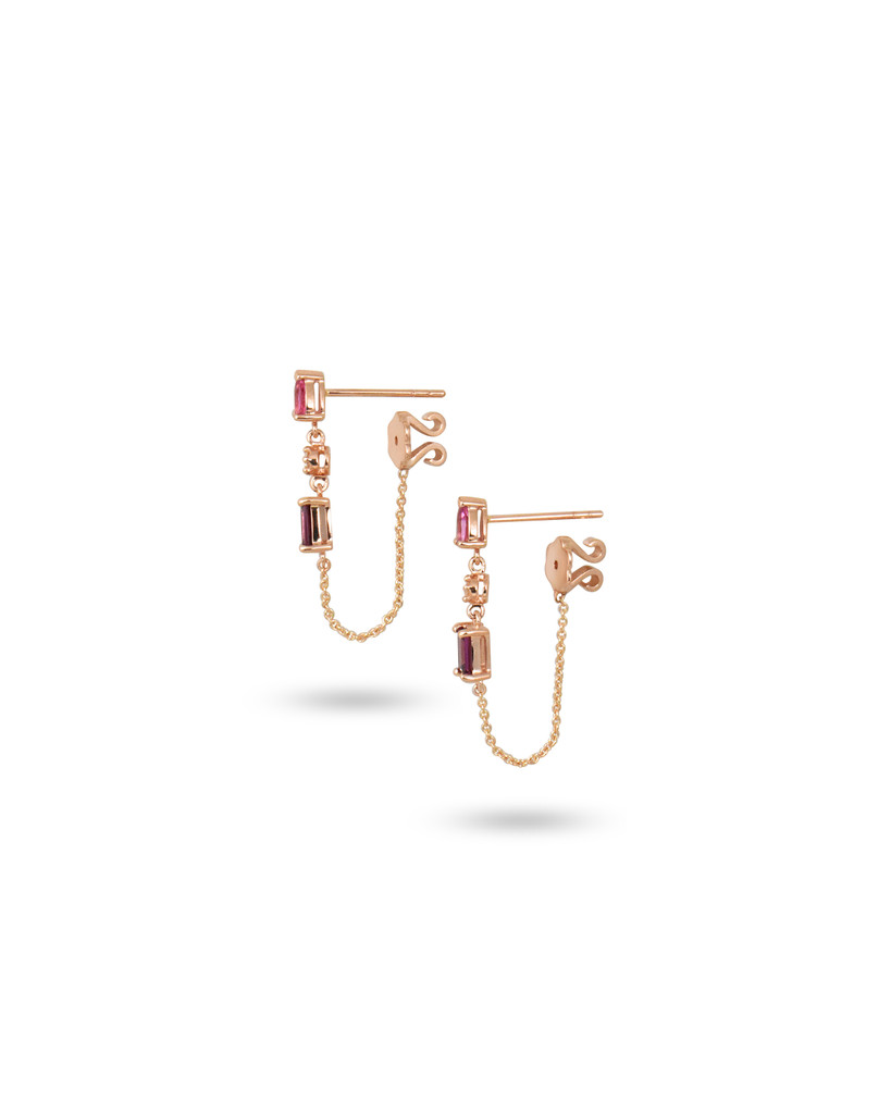 White Diamond, Pink Tourmaline, & Rhodolite 14K Rose Gold Dangle Earrings with Chain