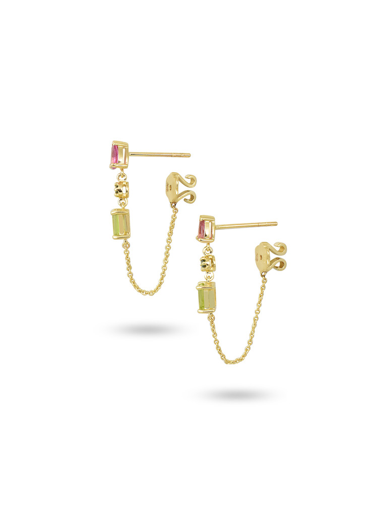 Green Diamond, Pink Tourmaline, & Peridot 14K Yellow Gold Dangle Earrings with Chain