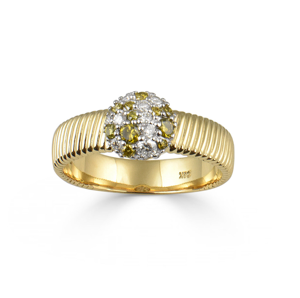 White & Yellow Diamond 14K Yellow Gold Thick Textured Band Ring