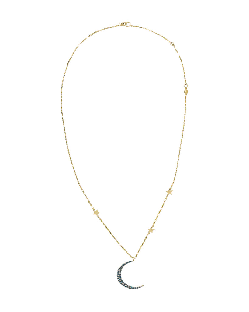14K Yellow Gold Large Crescent Moon & Stars Necklace with Blue Diamonds