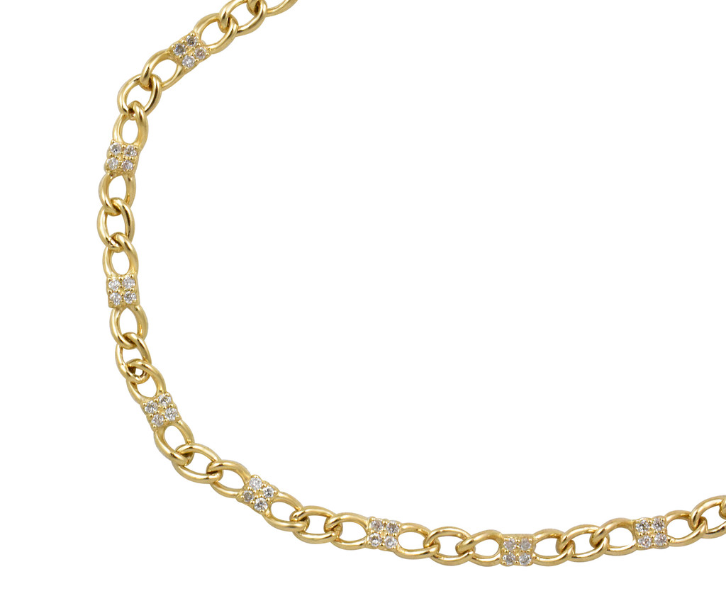 14K Yellow Gold Curb Dainty Link Bracelet with White Diamond Station