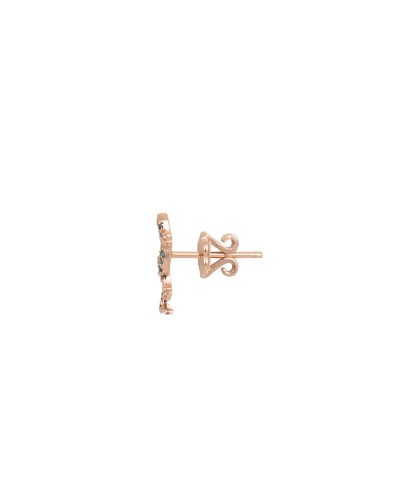 Blue Diamond 14K Rose Gold Single Salamander Stud