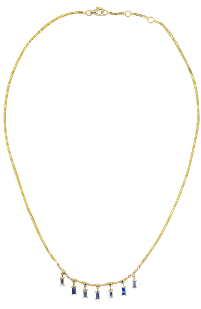 Blue Diamond & Baguette 14K Yellow Gold Fancy Sapphire Necklace - Available for special order