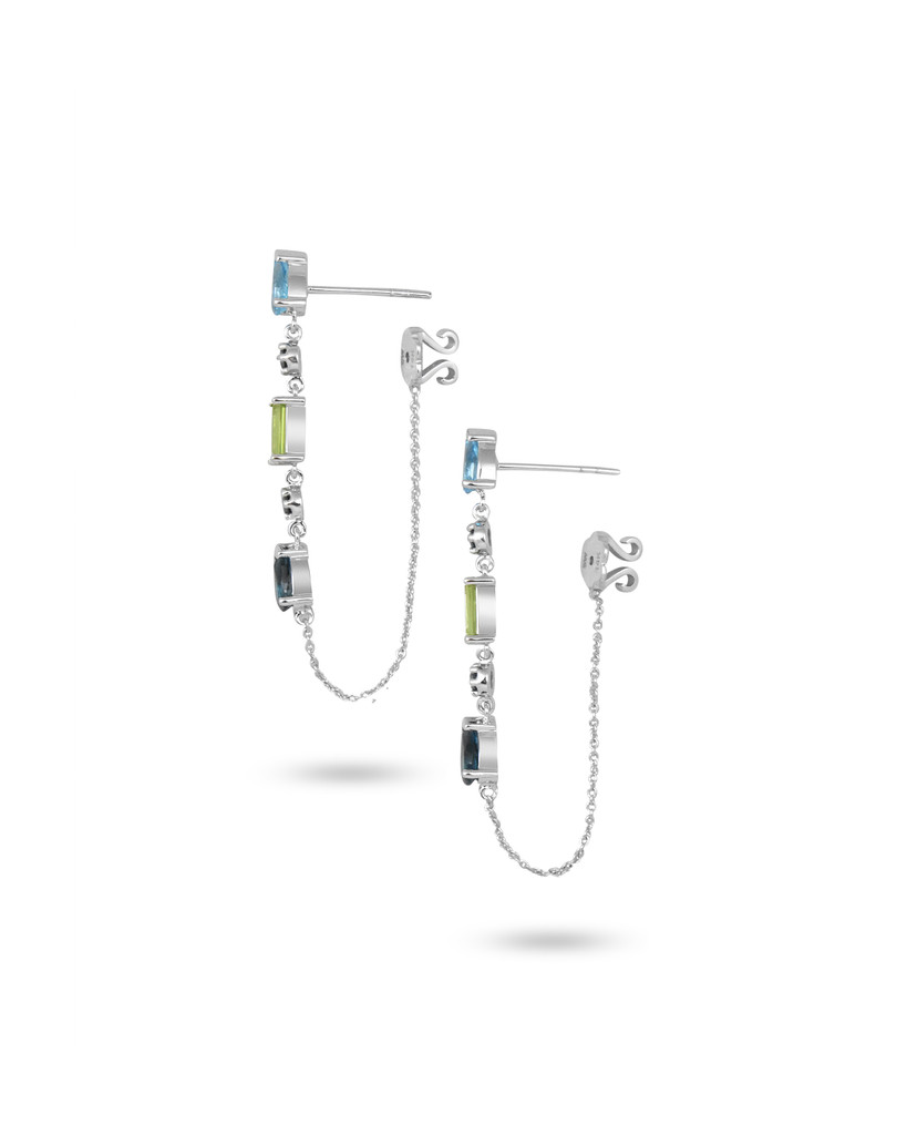 Blue Topaz & Peridot 14K White Gold Blue Diamonds Teardrop Dangle Earrings with Chain