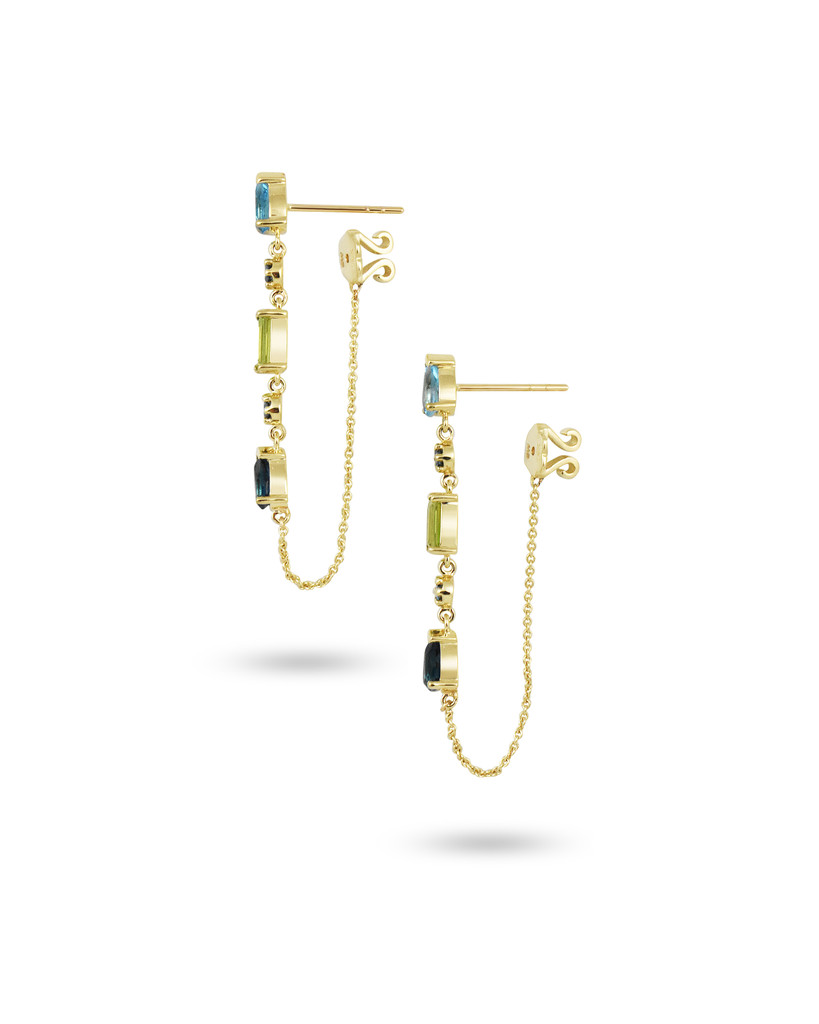 Blue Topaz & Peridot 14K Yellow Gold Blue Diamonds Teardrop Dangle Earrings with Chain