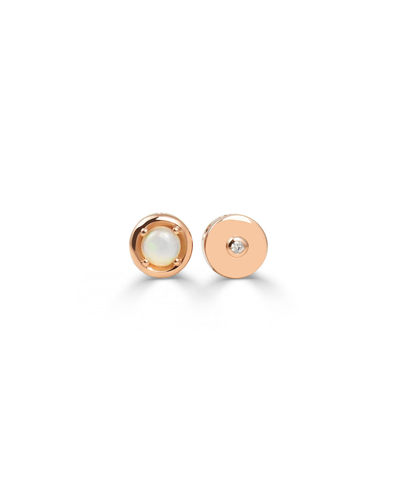 Opal and White Diamond Gold Round Charm In 14K Rose Gold