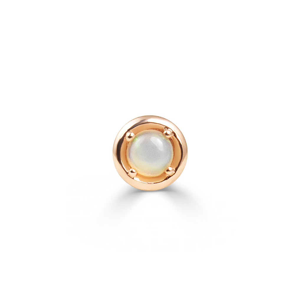 Opal 14K Rose Gold Round Charm with White Diamond