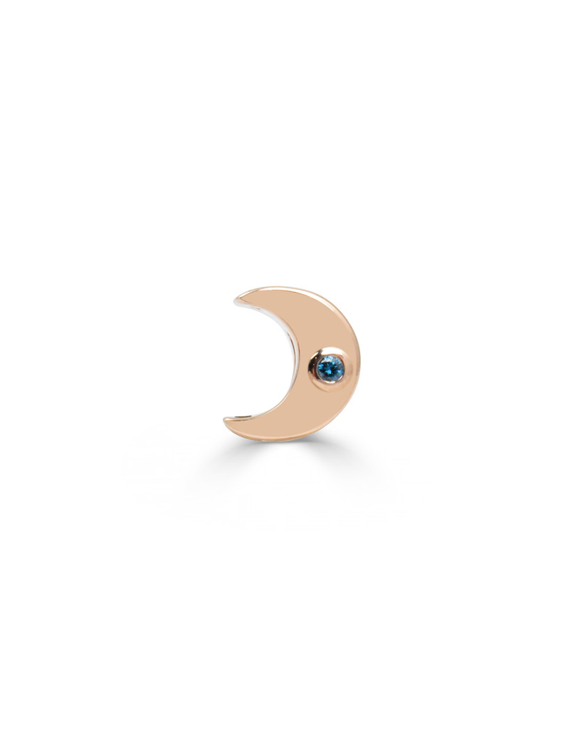 Crescent Moon Charm with Blue Diamonds in Solid 14K Rose Gold