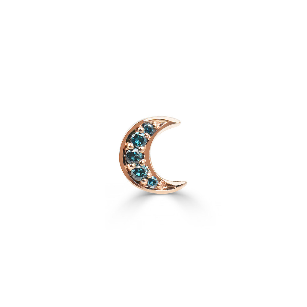 Blue Diamonds Crescent Moon Charm 14K Rose Gold