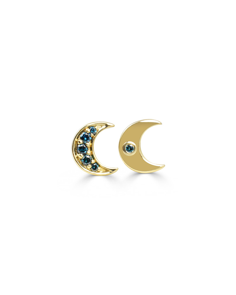 Crescent Moon Charm with Blue Diamonds in Solid 14K Yellow Gold