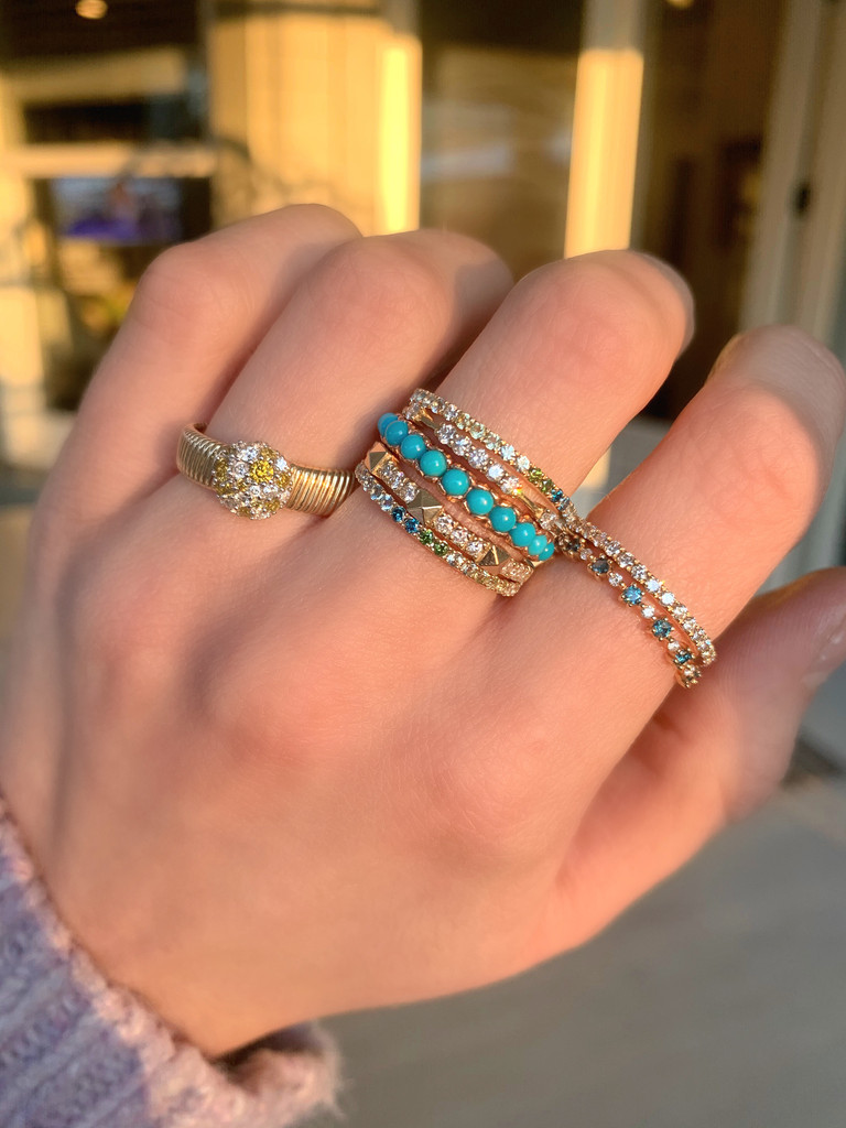 Green and Blue Ombré Precious & Semi-Precious Stone 14K Yellow Gold Micro Pave Eternity Band
