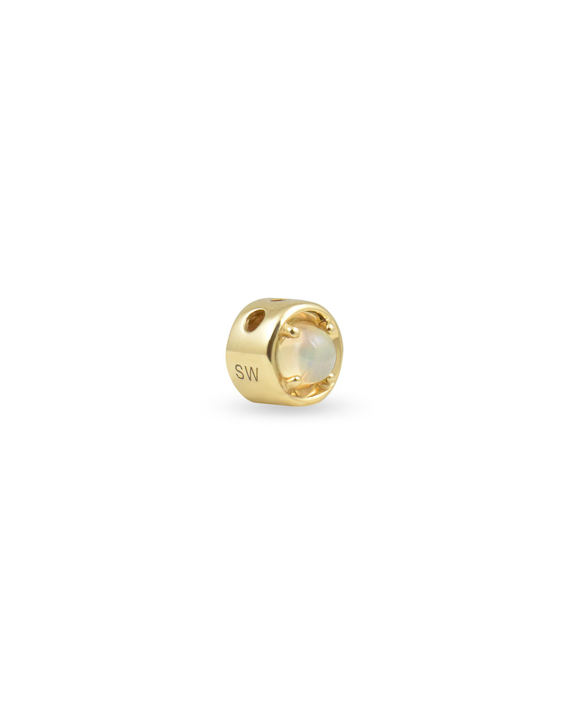 Opal and White Diamond Gold Round Charm In 14K Yellow Gold