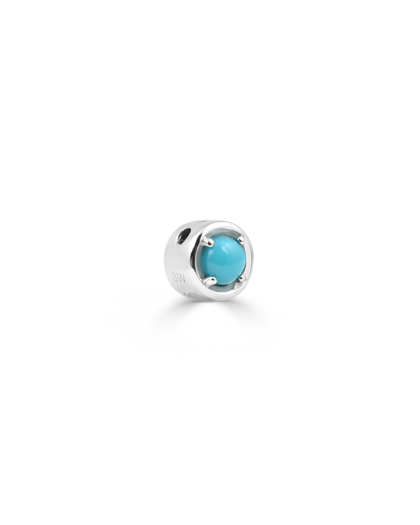 Turquoise and Diamond Gold Round Charm In 14K White Gold