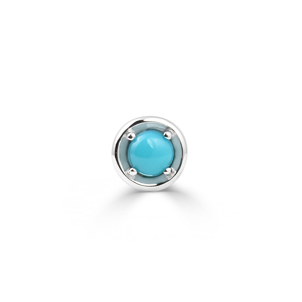 Turquoise 14K White Gold Round Charm with White Diamond