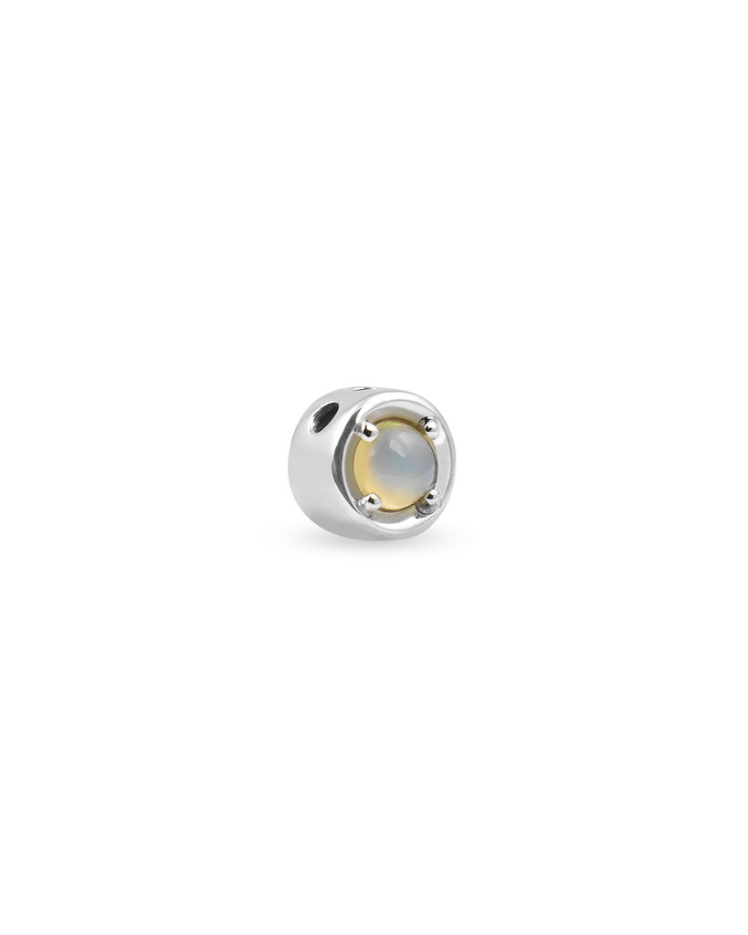Opal 14K White Gold Round Charm with White Diamond