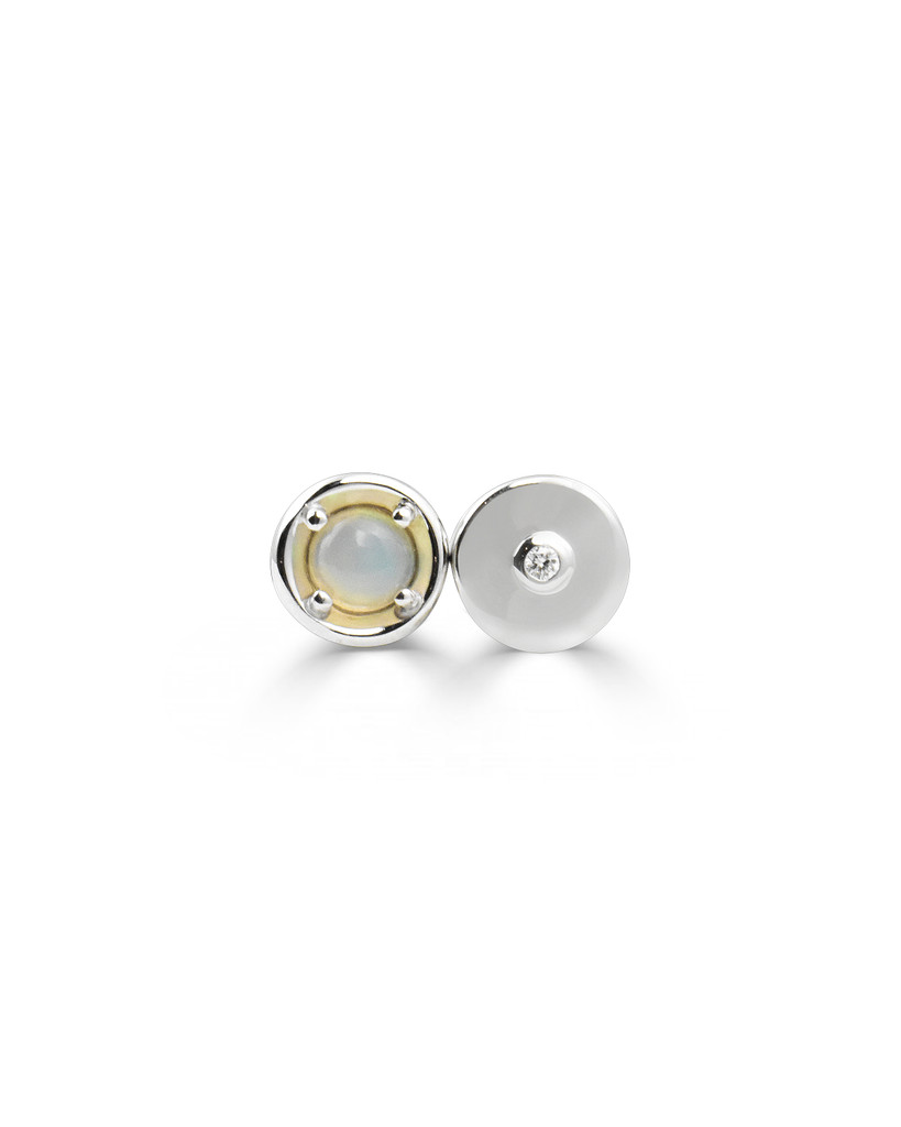 Opal and White Diamond Gold Round Charm In 14K White Gold