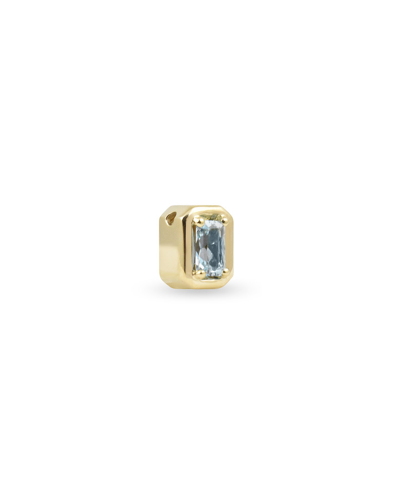 Emerald-Cut Aquamarine and Blue Diamond Semi-Precious Stone 14K Yellow Gold Charm