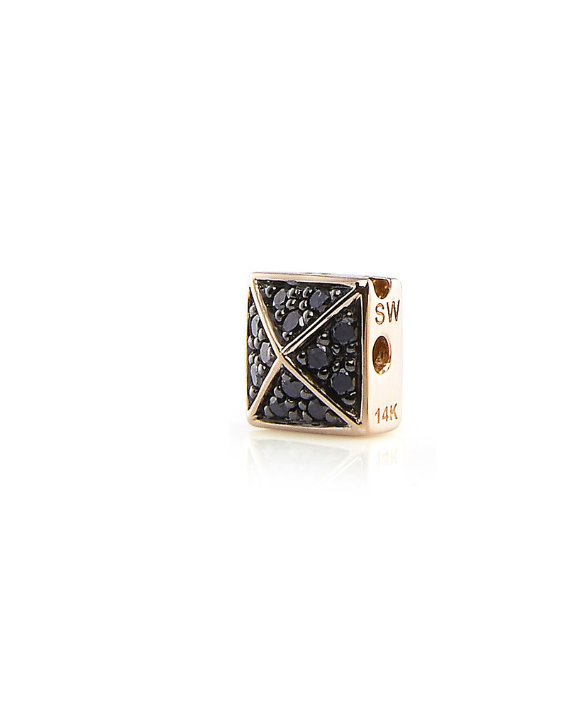 Black Diamonds 14K Yellow Gold Pyramid Stud Charm