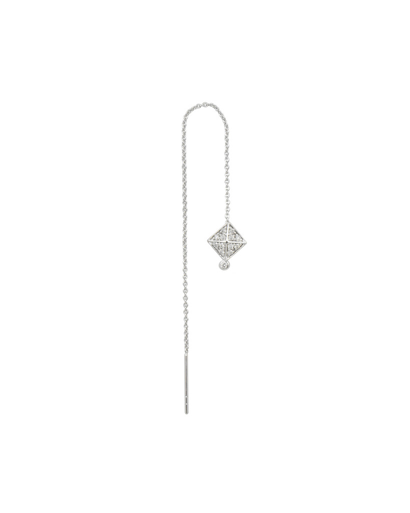 White Diamonds 14K White Gold Pyramid Stud Charm