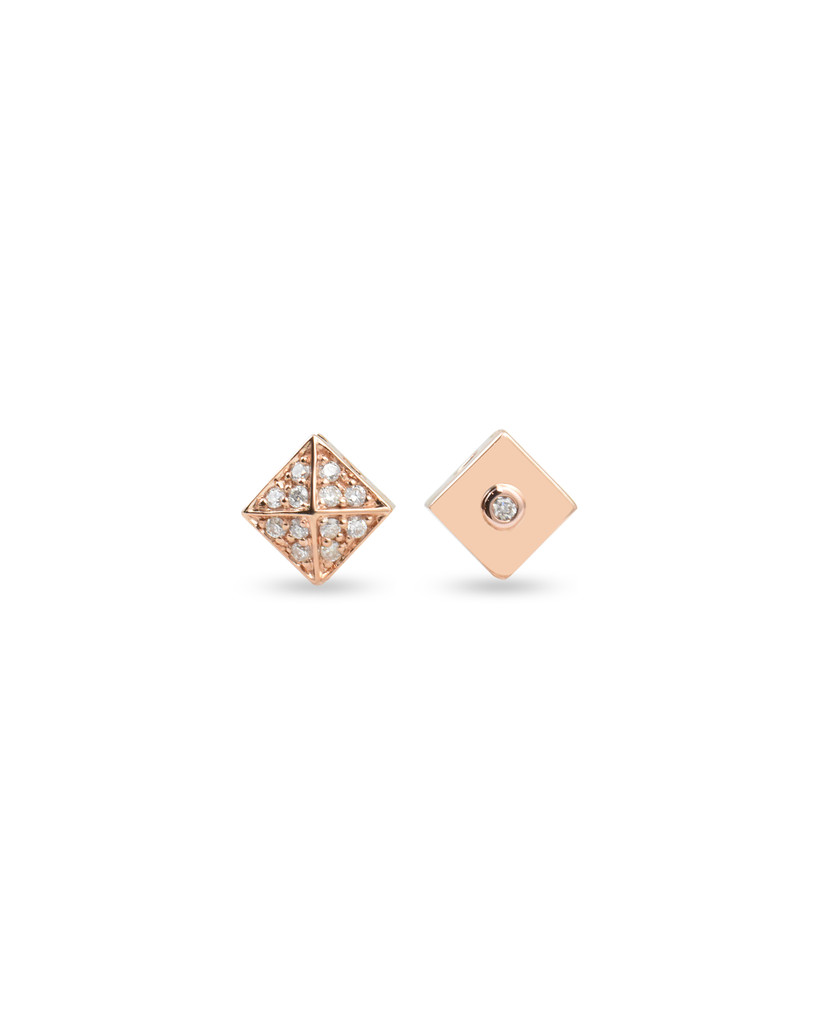 White Diamonds 14K Rose Gold Pyramid Stud Charm