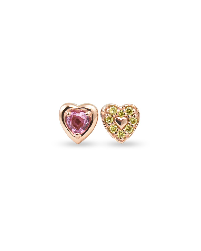 Pink Sapphire 14K Rose Gold Heart-Shaped Charm with Yellow Diamonds