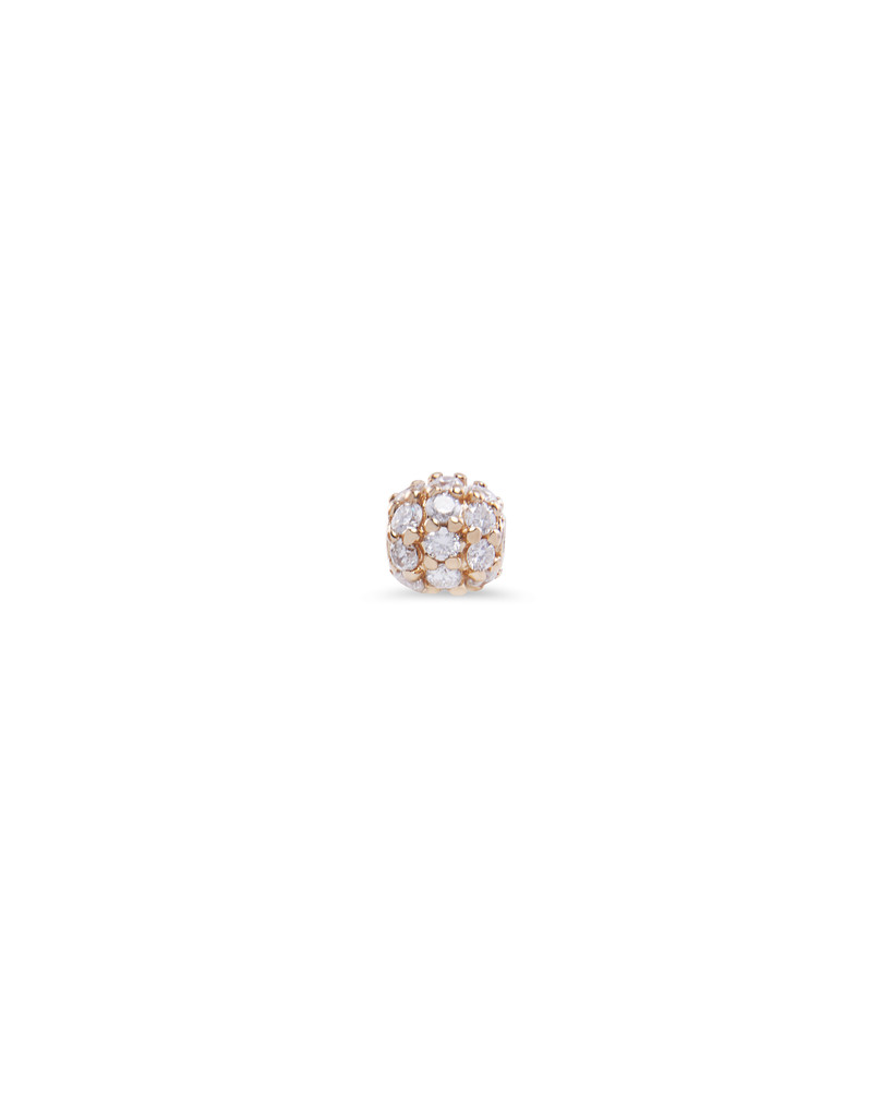 Pave White Diamond 14K Yellow Gold 5mm Ball Charm