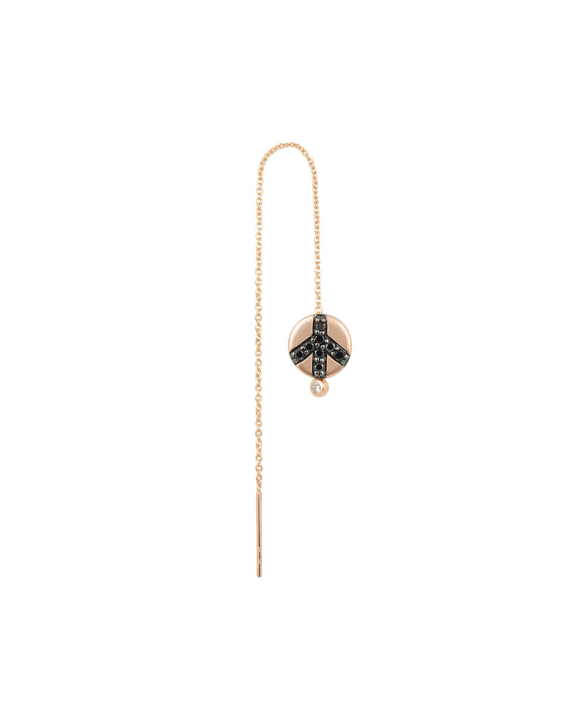 Black Diamond and Amethyst 14K Rose Gold Peace Sign Charm